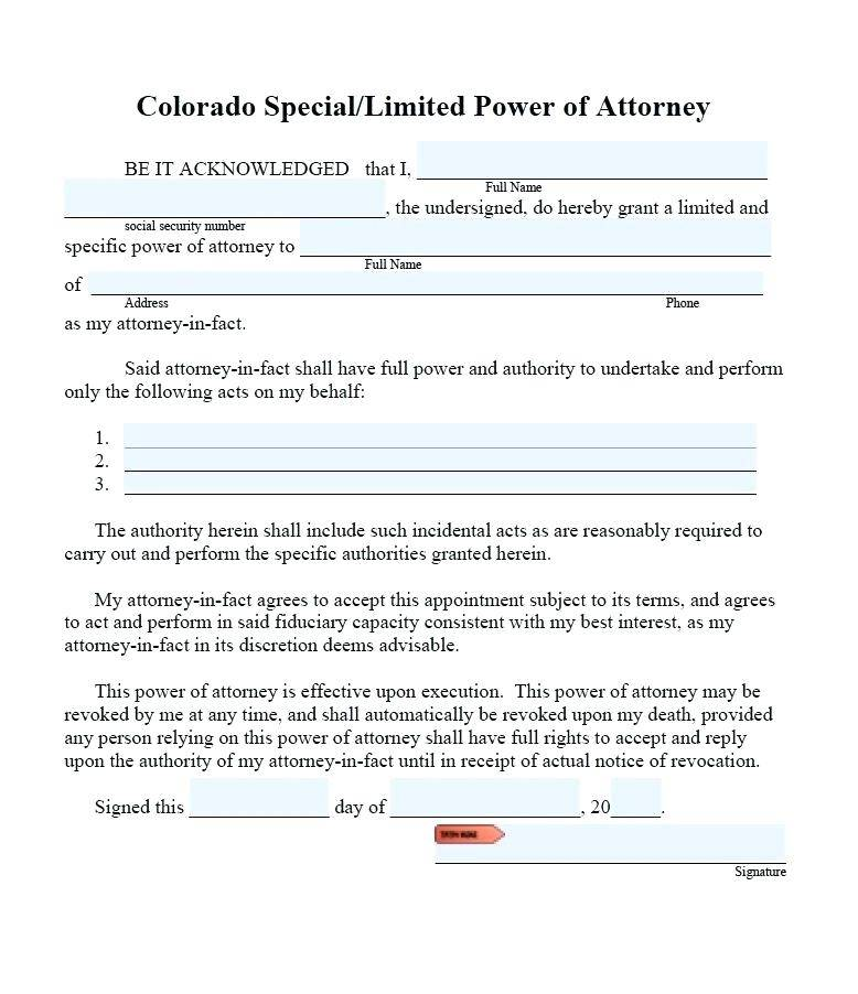 Special Power Of Attorney Word Doc