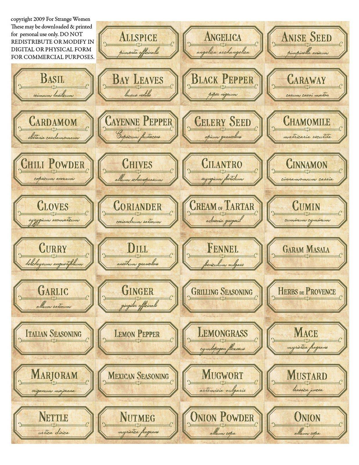 Spice Label Templates