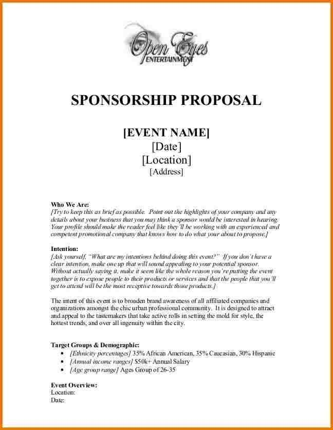 Sponsor Proposal Example