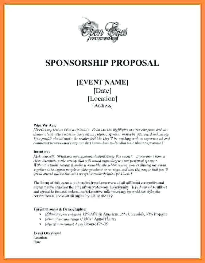 Sponsor Proposal Template Ppt