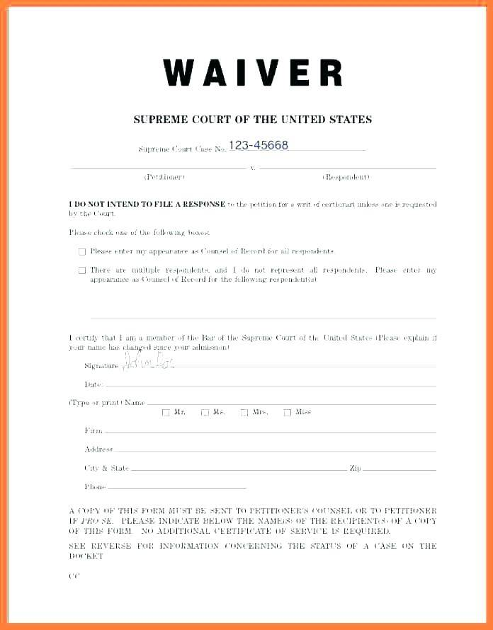 Sports Injury Waiver Form Template