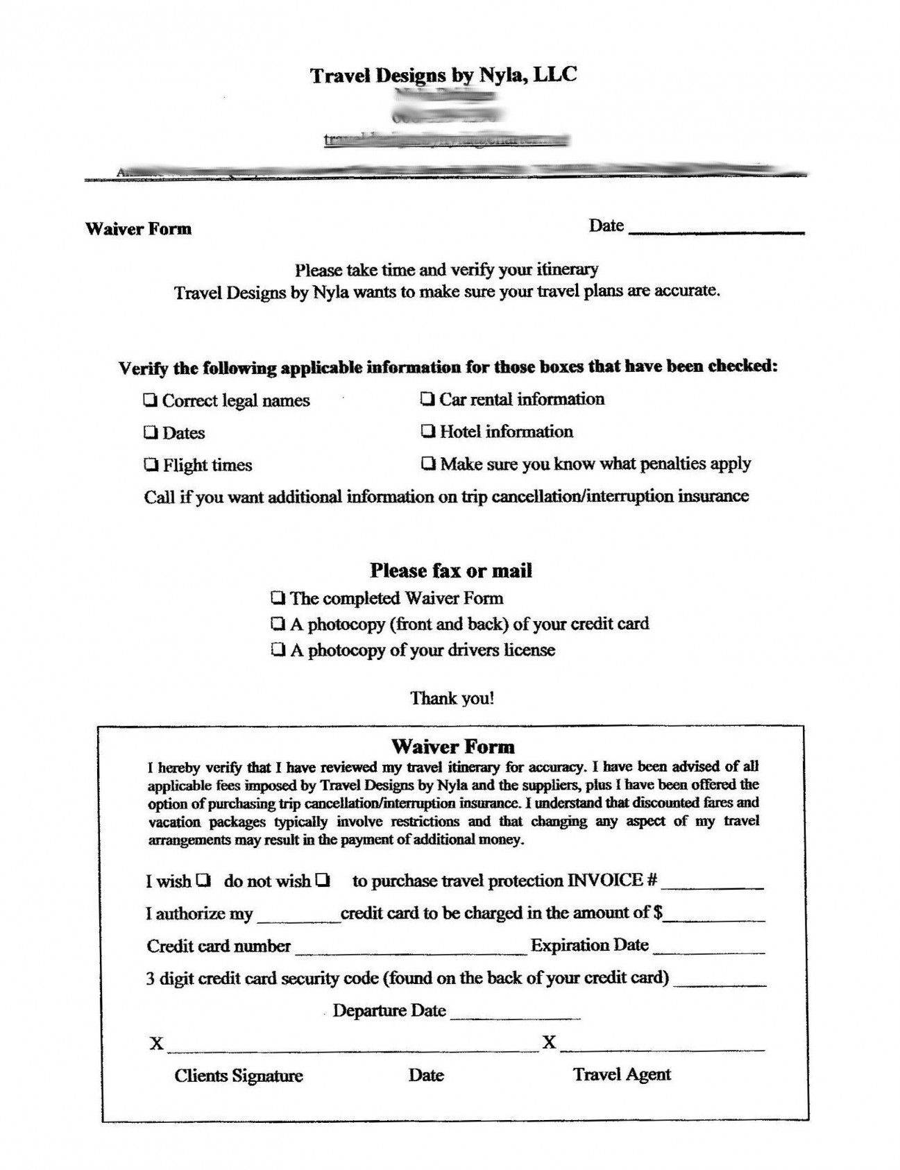 Sports Insurance Waiver Template