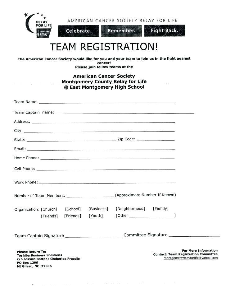 Sports Registration Form Template Free