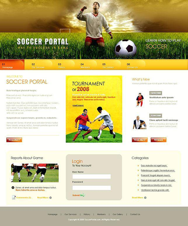 Sports Websites Templates Free Download
