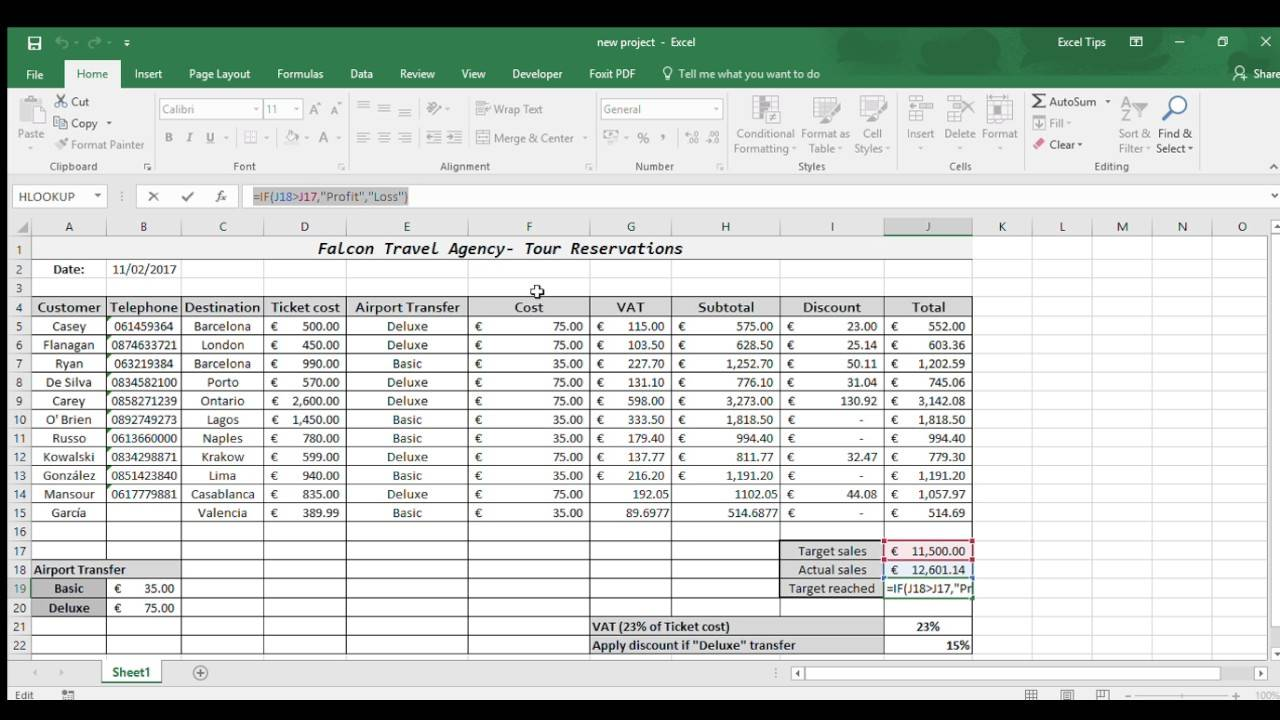 Spreadsheet Example Excel