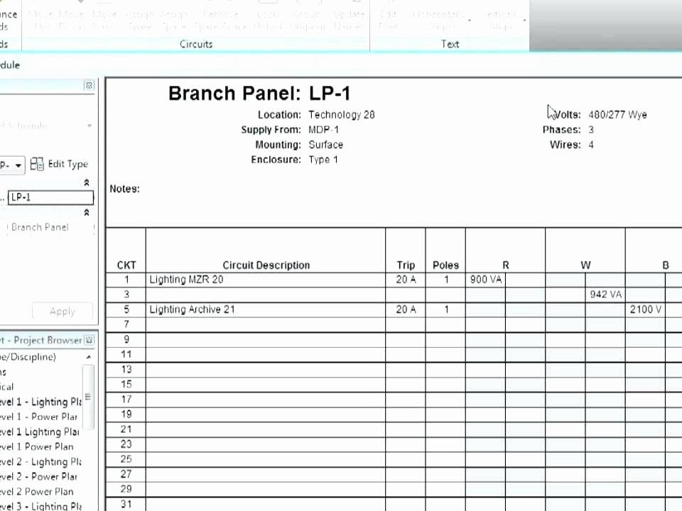 Square D Panel Schedule Template