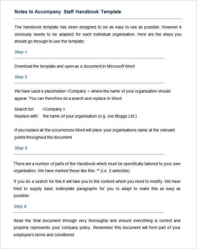Staff Handbook Template Acas