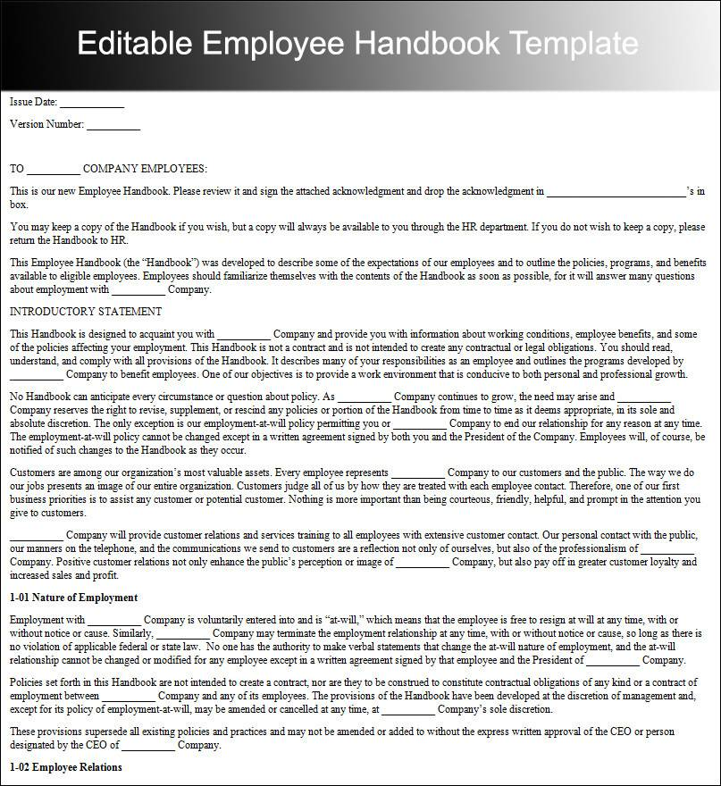 Staff Handbook Template Word