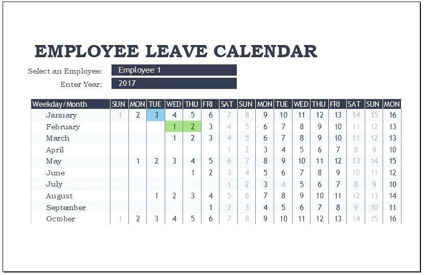Staff Holiday Planner Template 2017