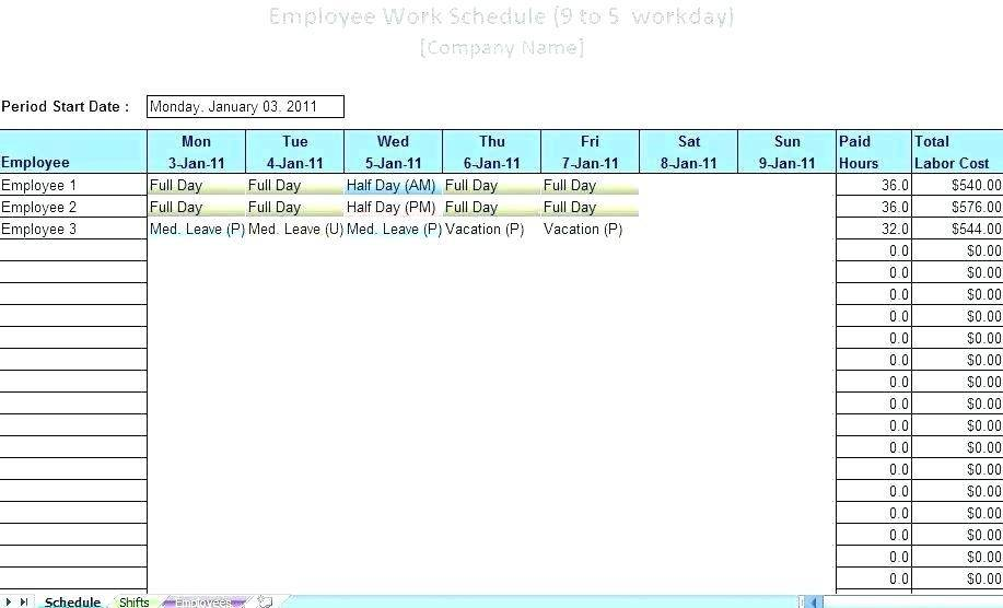 Staff Leave Schedule Excel Template