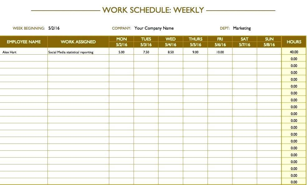 Staff Schedule Template Excel