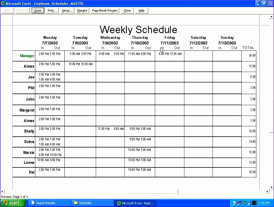 Staff Schedule Template For Daycare