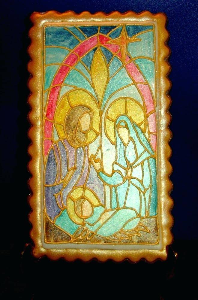 Stained Glass Nativity Scene Template
