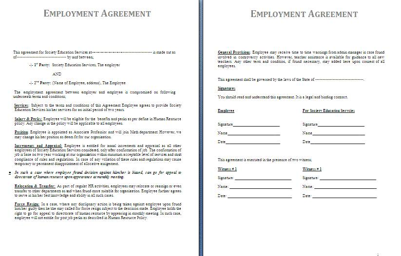Standard Employment Contract Template Word