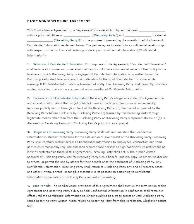 Standard Nda Contract