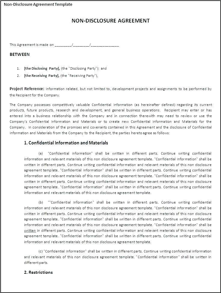 Standard Non Disclosure Agreement Template Canada