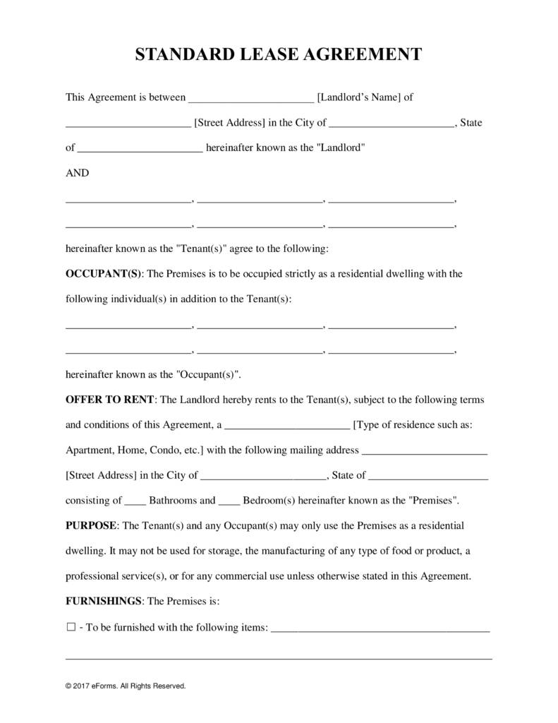Standard Rental Lease Agreement Template