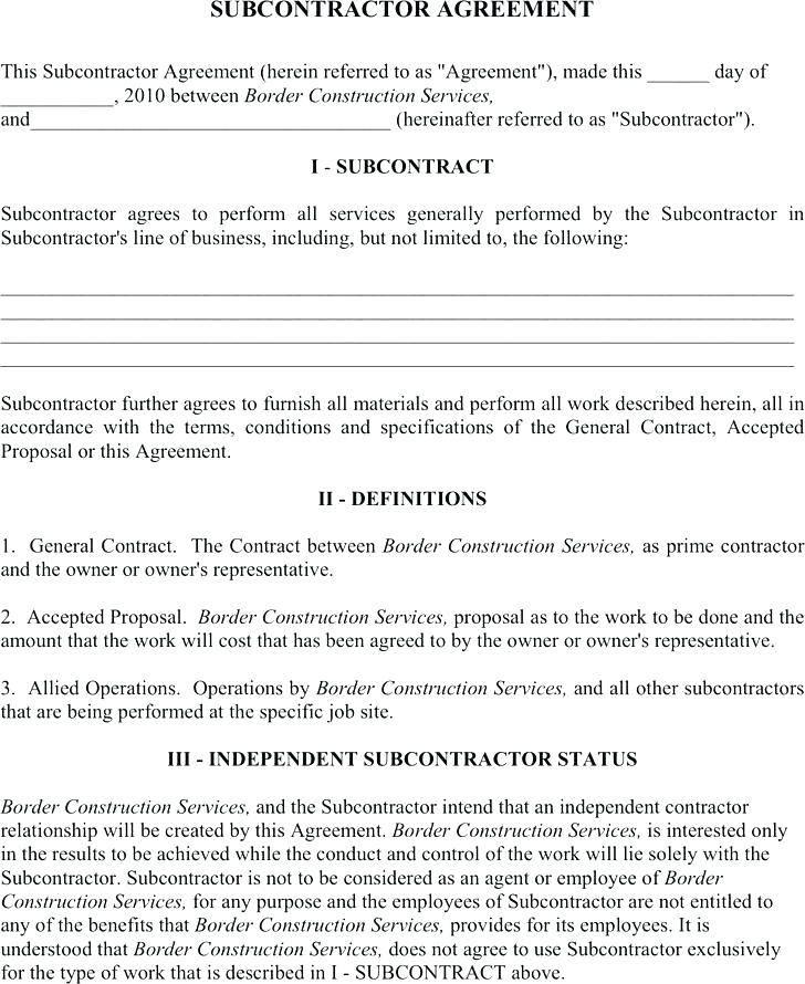 Standard Subcontractor Agreement Template Uk