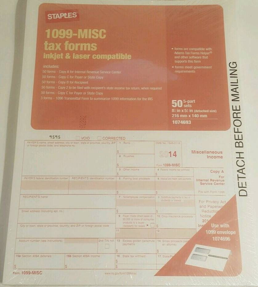Staples 1099 Misc Template