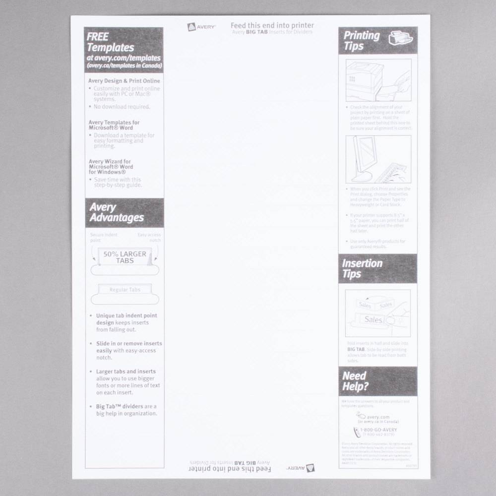 Staples 5 Large Tab Insertable Divider Template