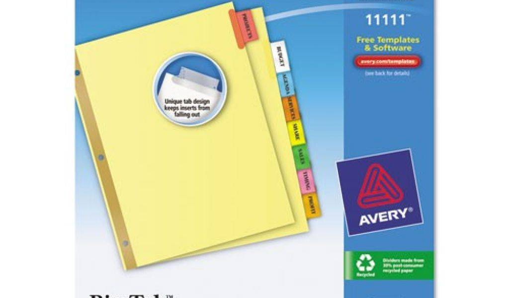 Staples 5 Tab Insertable Wide Dividers Template