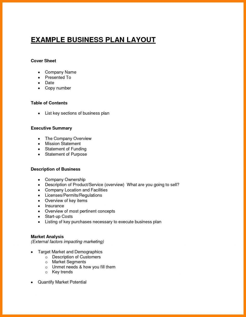 Startup Business Plan Template Example