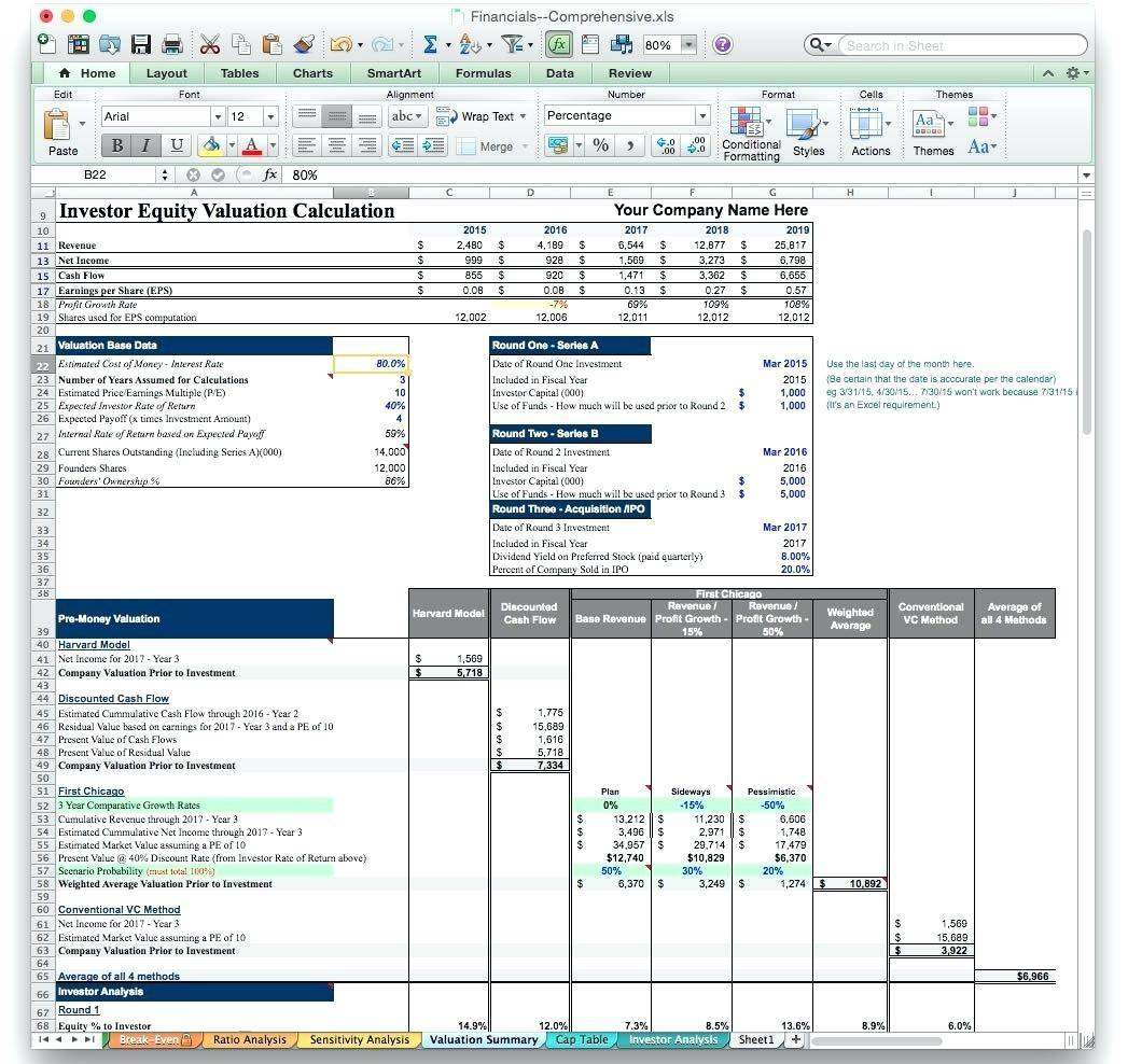 Startup Financial Projections Template Excel