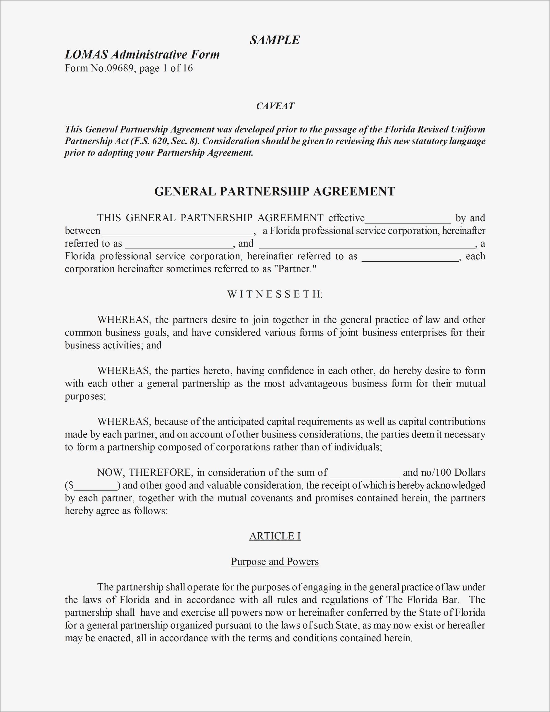 Startup Partnership Agreement Template Pdf