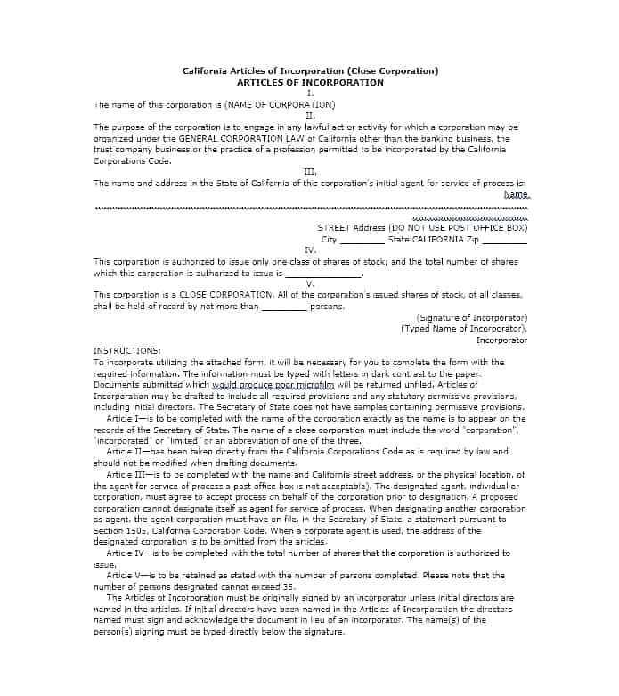State Of California Articles Of Incorporation Template