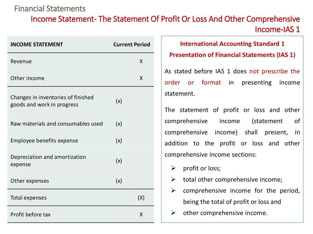 Statement Of Profit And Loss And Other Comprehensive Income Template