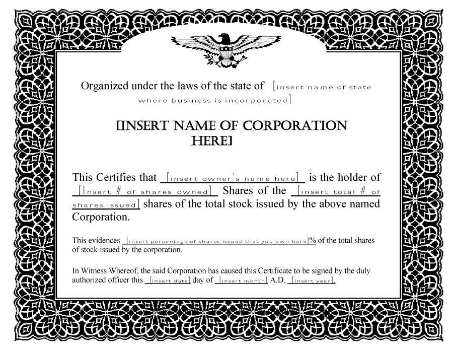 Stock Certificate Forms Free