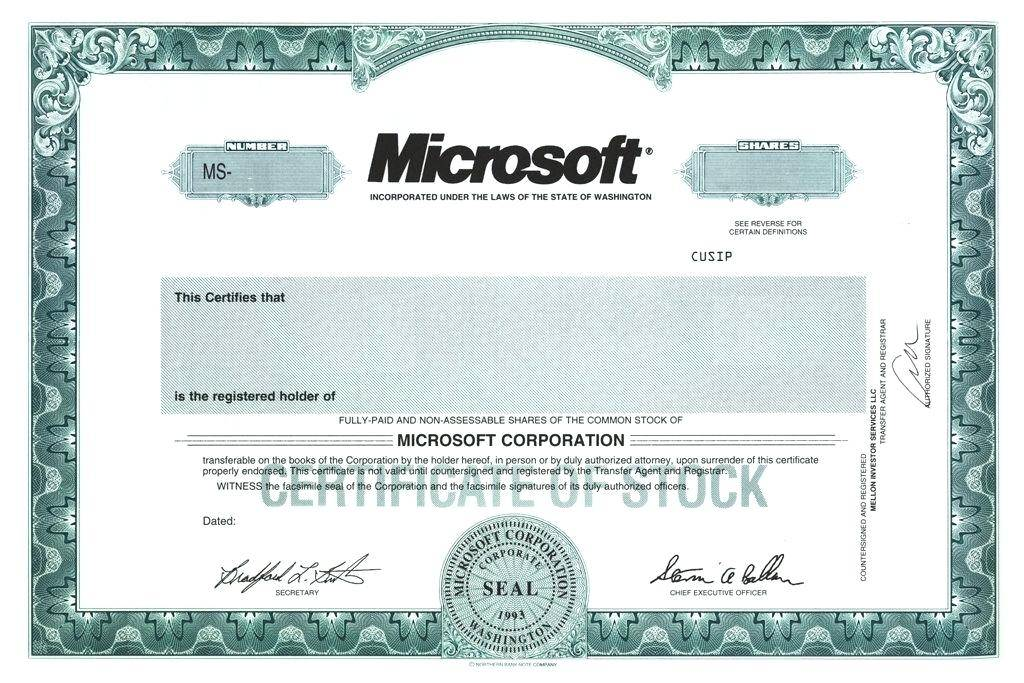 Stock Certificate Template Front And Back