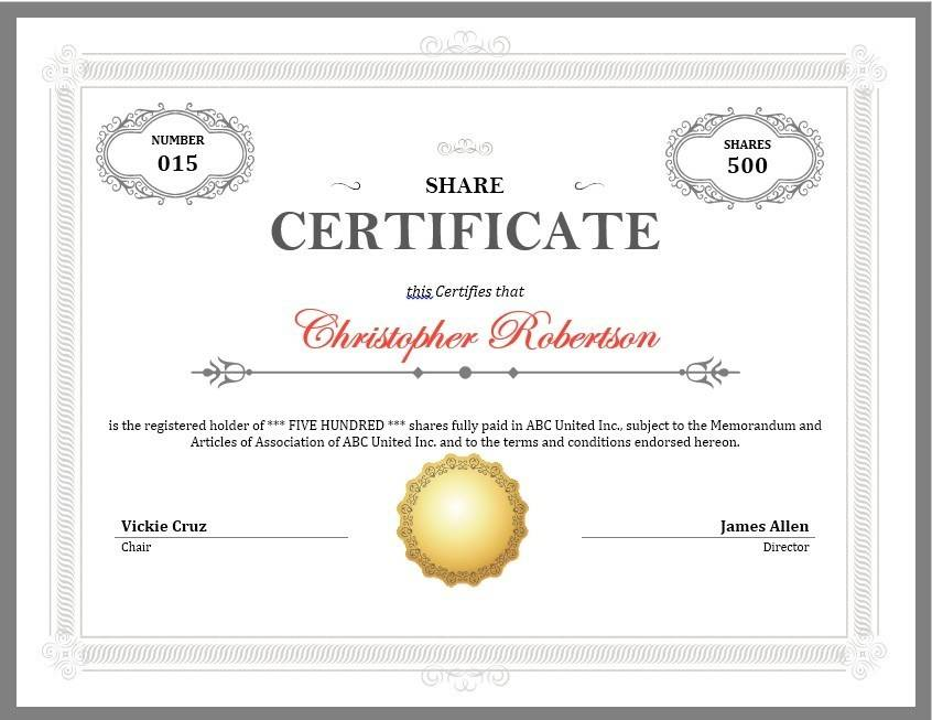 Stock Certificate Template Illustrator