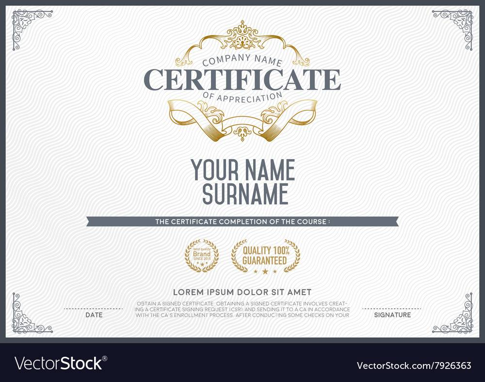 Stock Certificate Template Vector
