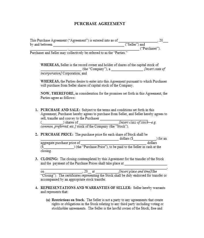 Stock Purchase Agreement Example