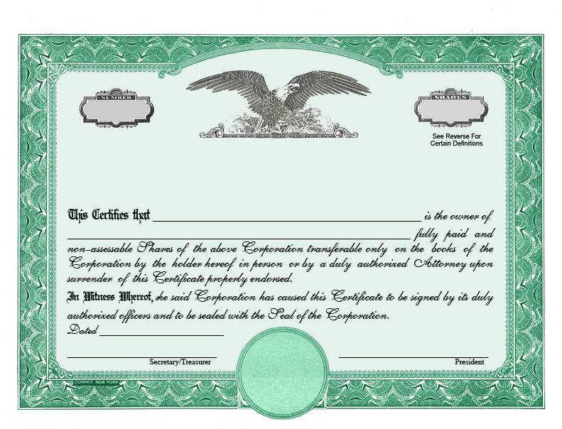 Stock Share Certificate Template
