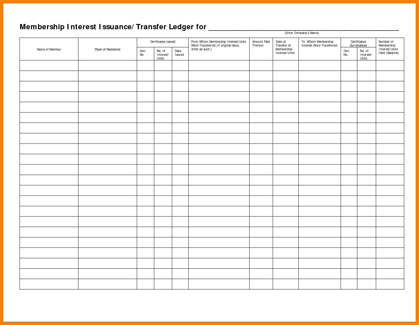 Stock Transfer Ledger Template Free