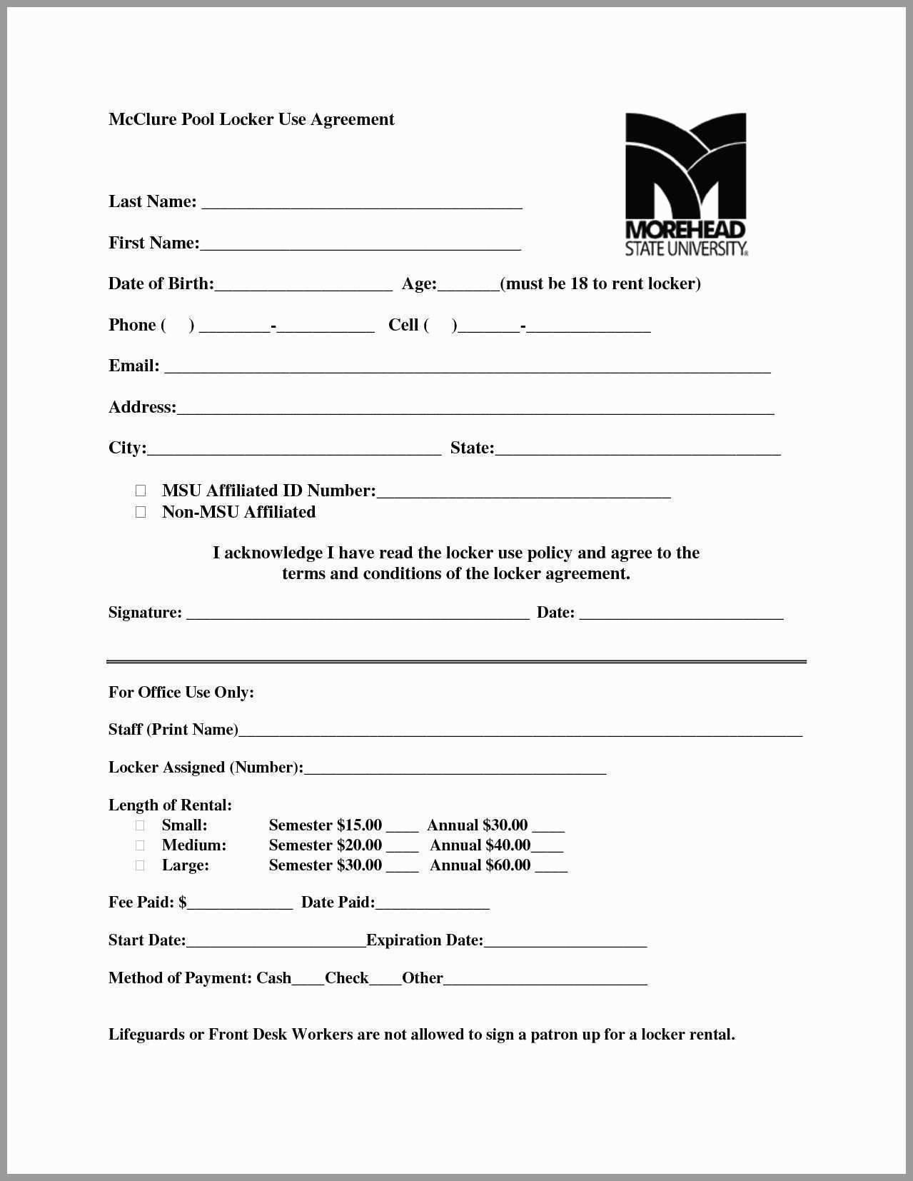 Storage Rental Agreement Forms Free