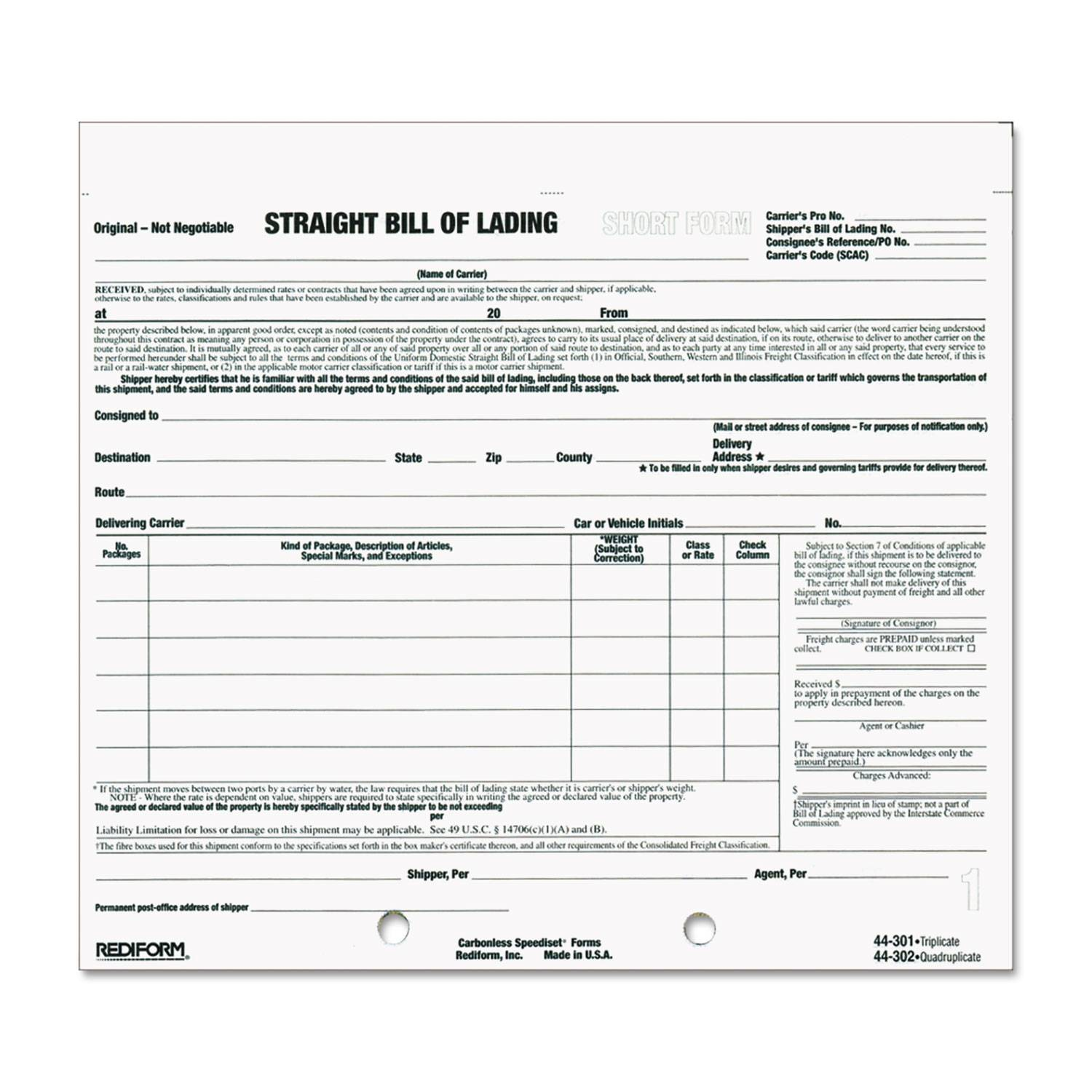 Straight Bill Of Lading Short Form Free