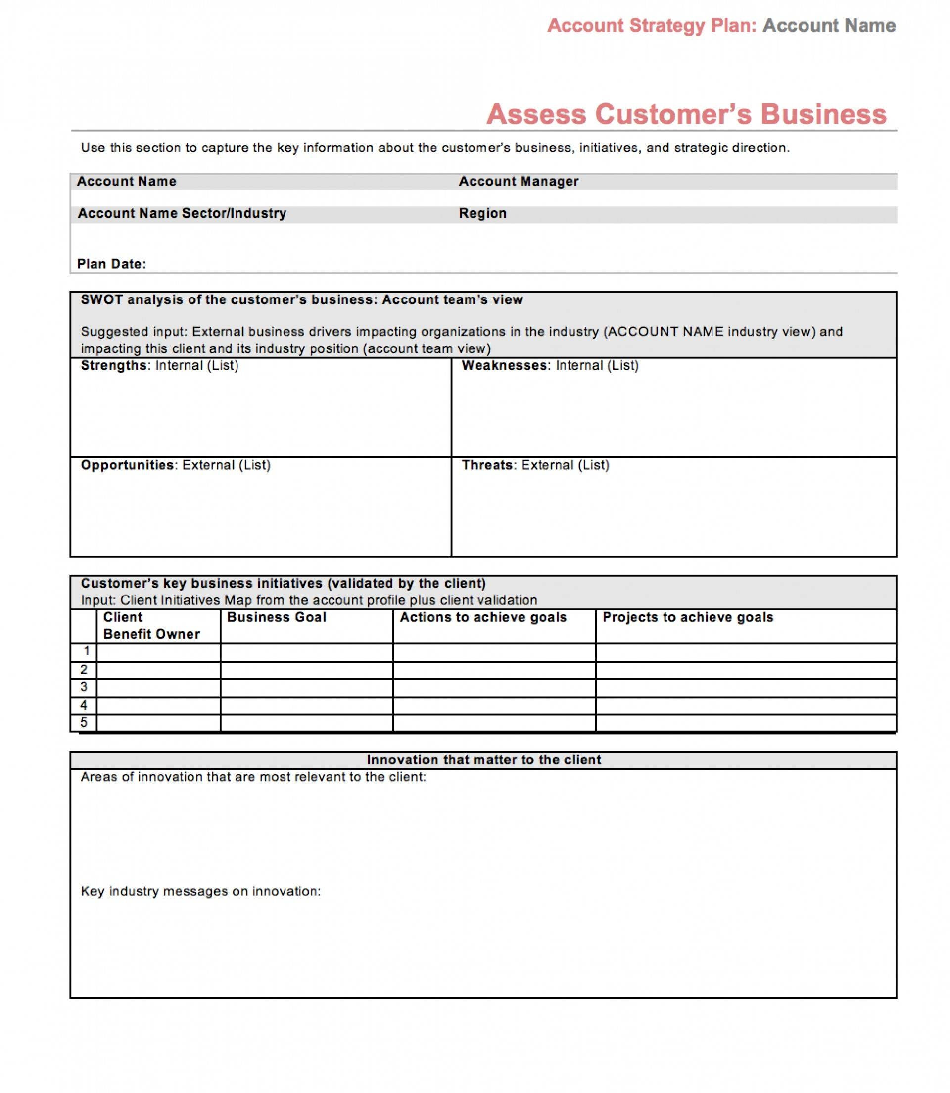 Strategic Account Plan Template Doc