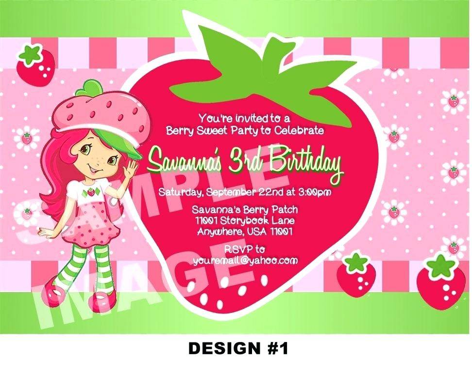 Strawberry Shortcake Birthday Invitation Template