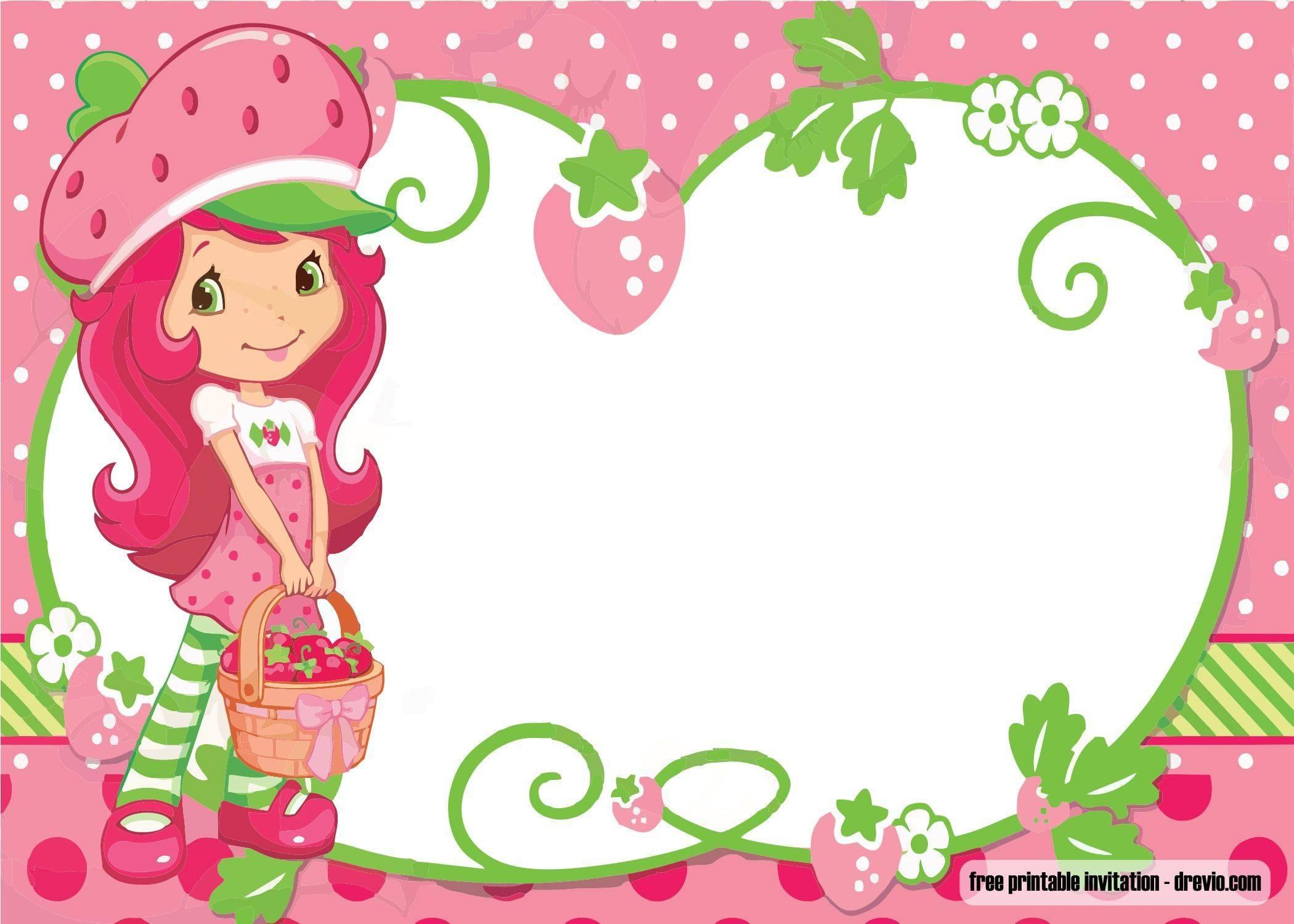Strawberry Shortcake Birthday Invitation Templates Free