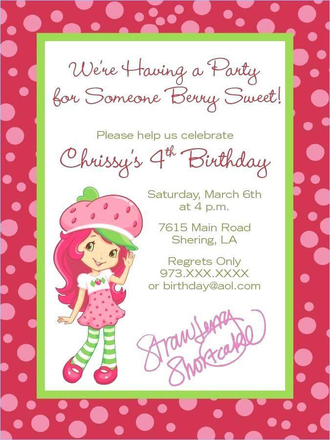 Strawberry Shortcake Birthday Party Invitation Templates