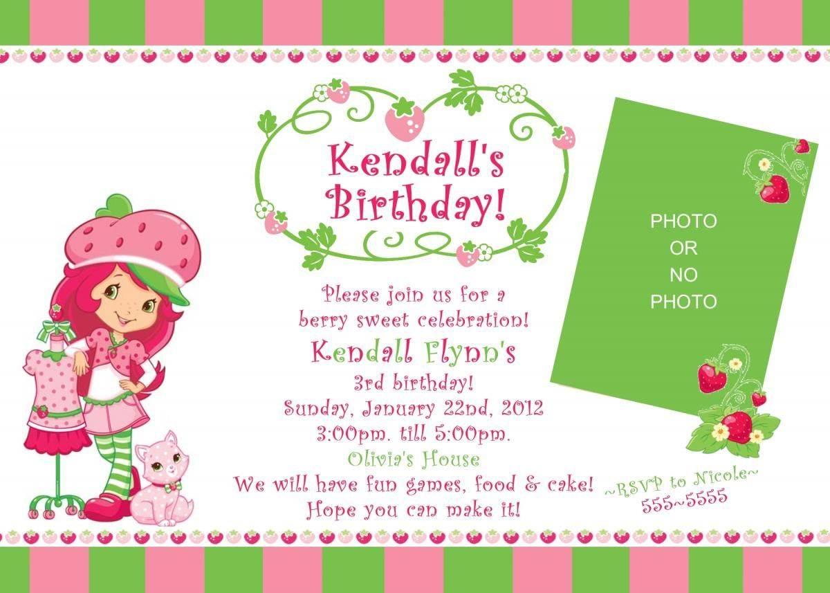 Strawberry Shortcake Invitation Template Free