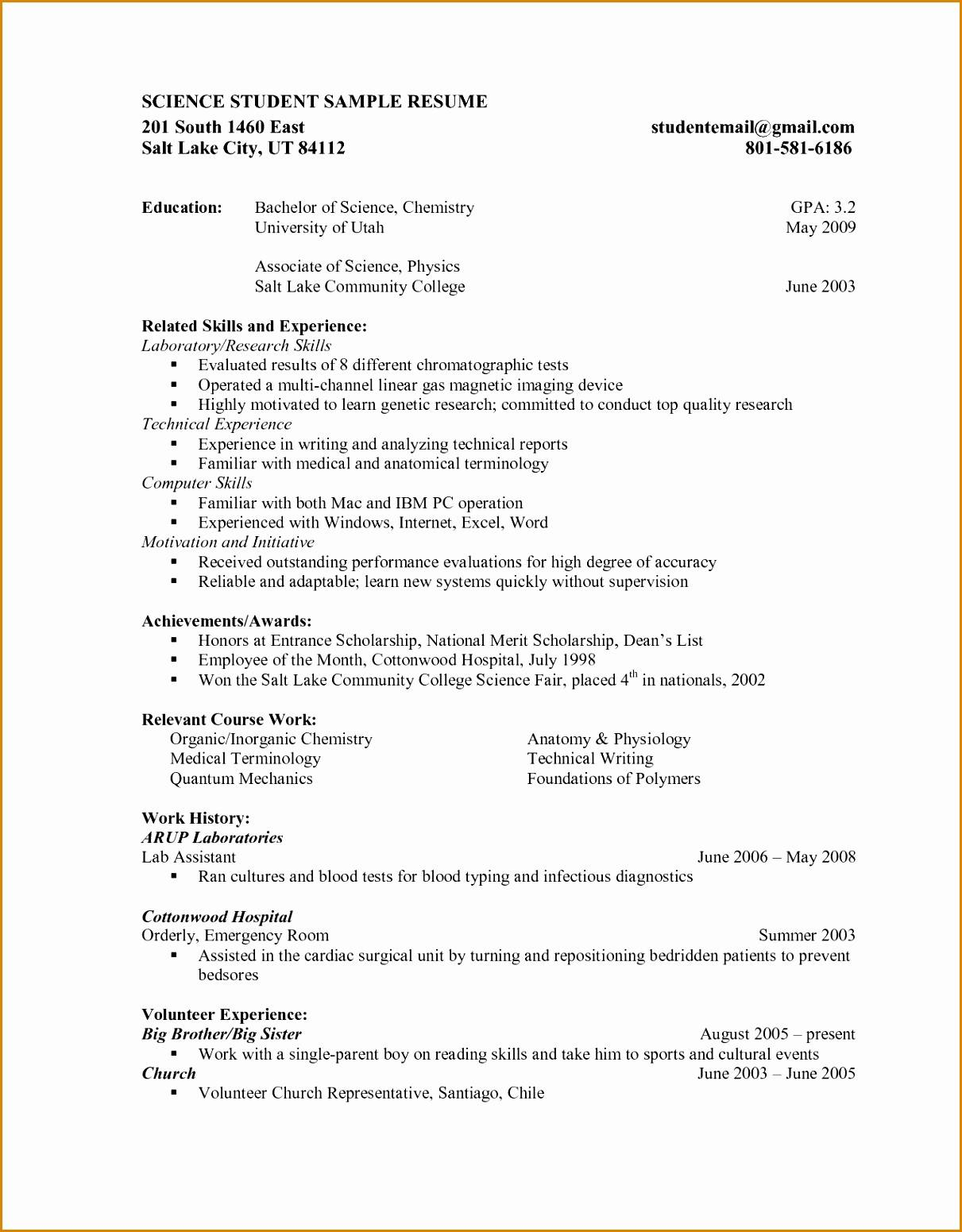 Student Cv Template For First Job Pdf