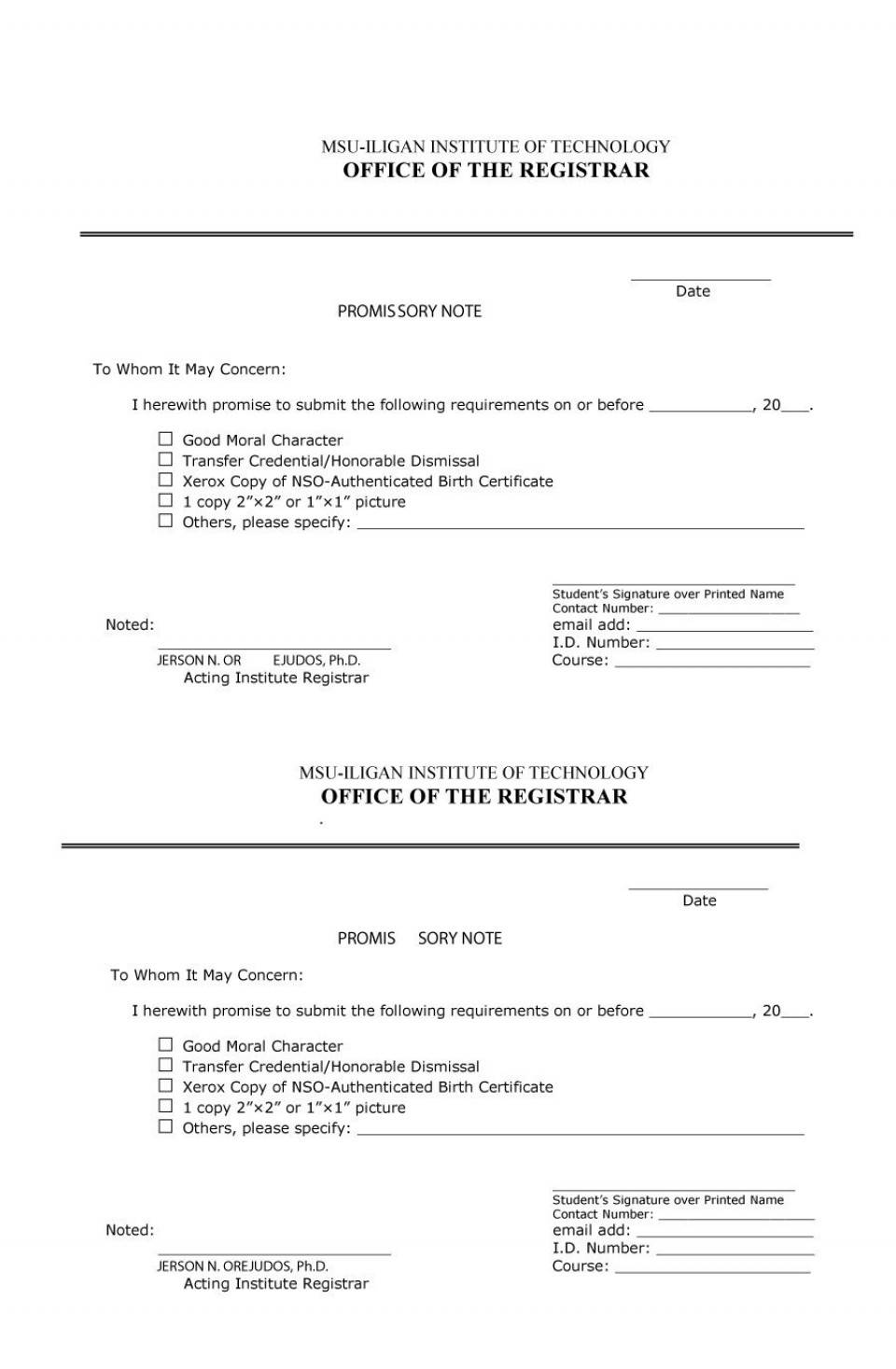 Student Loan Promissory Note Template