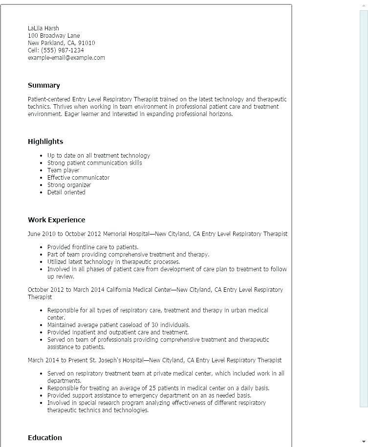 Student Respiratory Therapist Resume Samples