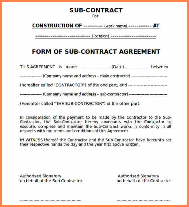 Subcontractor Agreement Template California