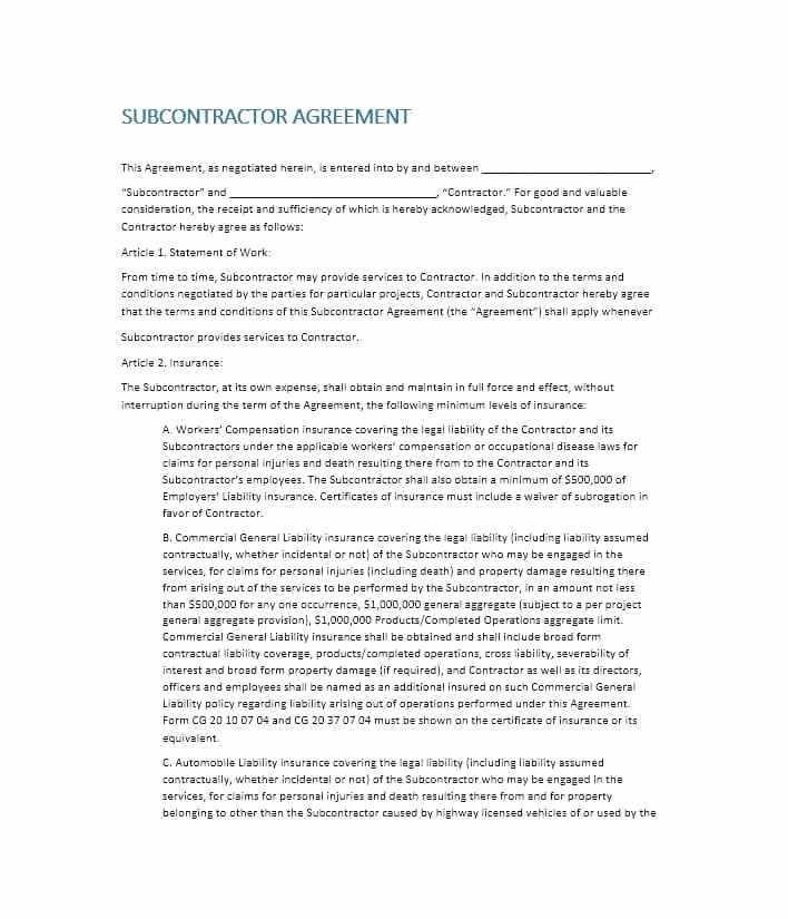 Subcontractor Agreement Template Nz