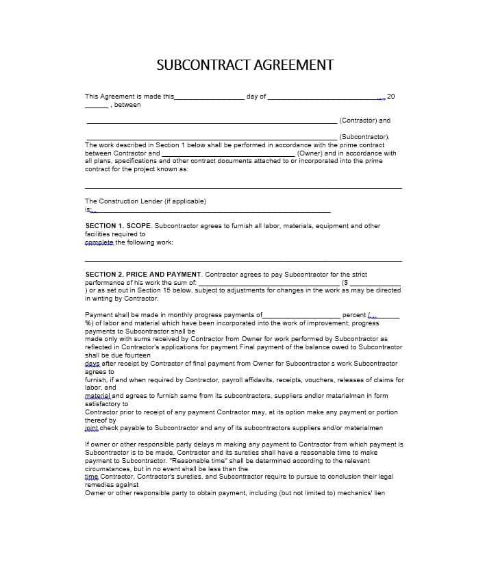 Subcontractor Contract Templates